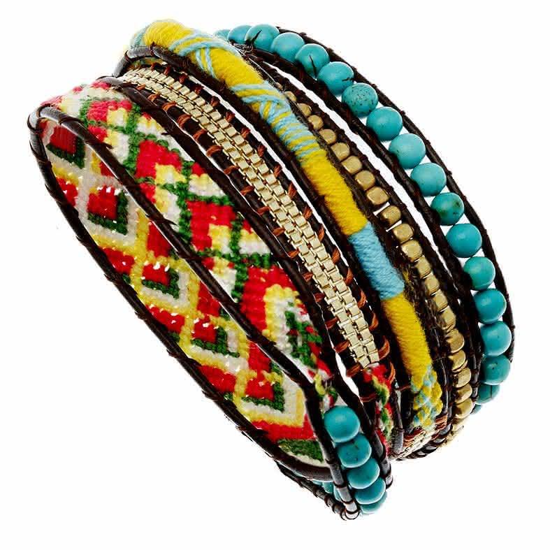 bracelet bresilien rouge et turquoise
