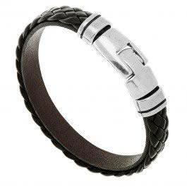 Bracelet cuir tressé Magnum pour homme (chocolat)