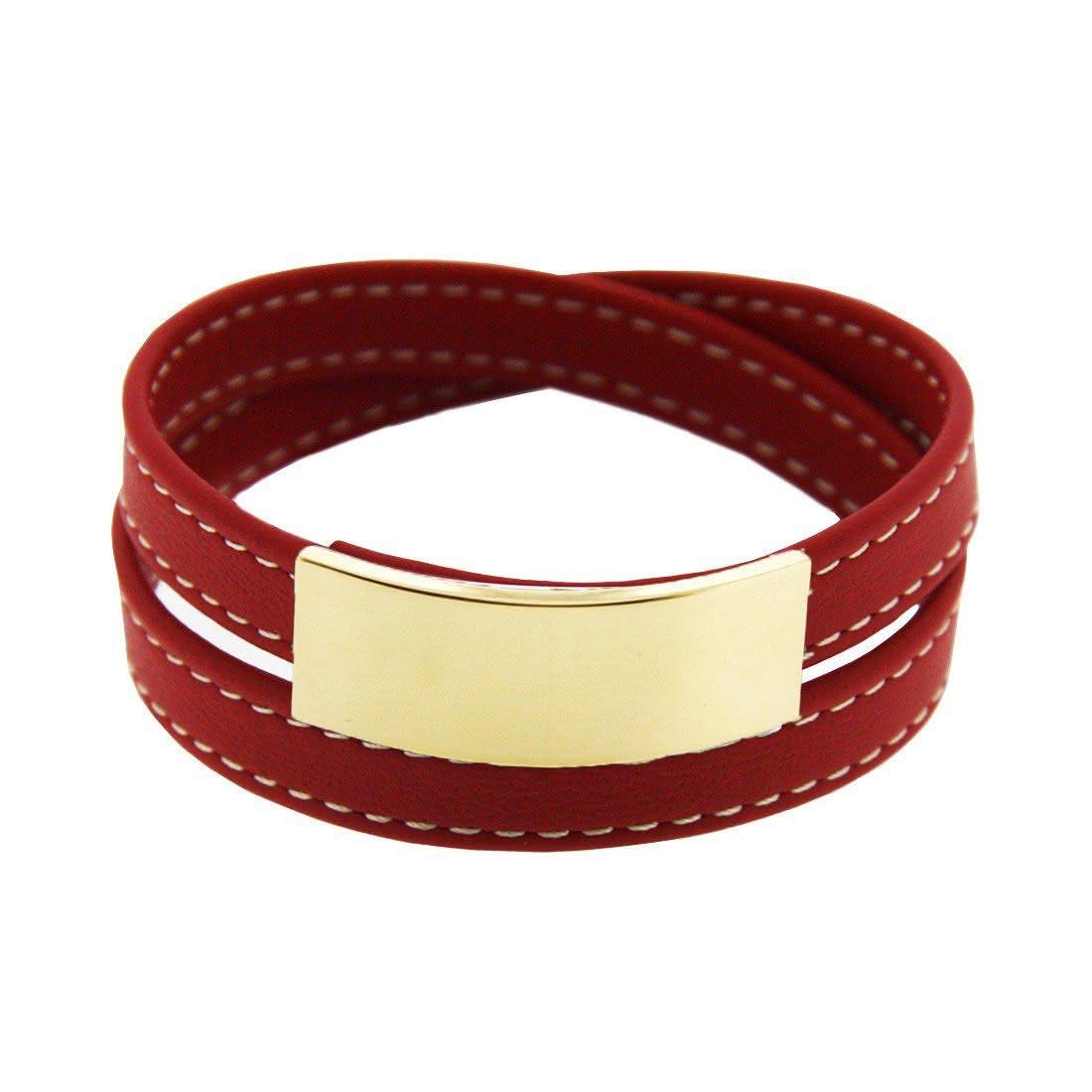 bracelet cuir et plaque