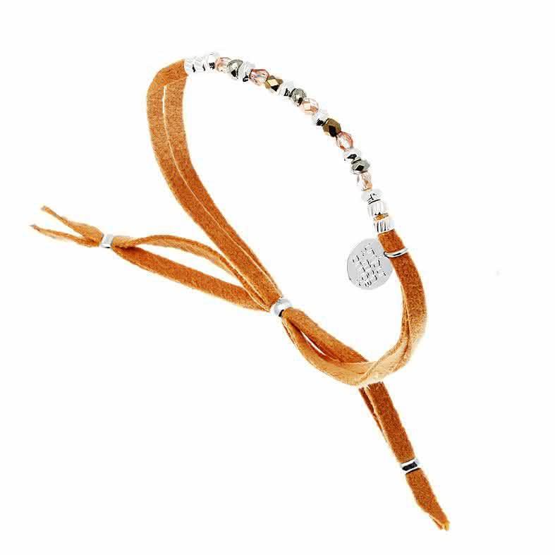 Bracelet cristaux et perles (suedine camel)