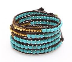 bracelet multitour turquoise et or