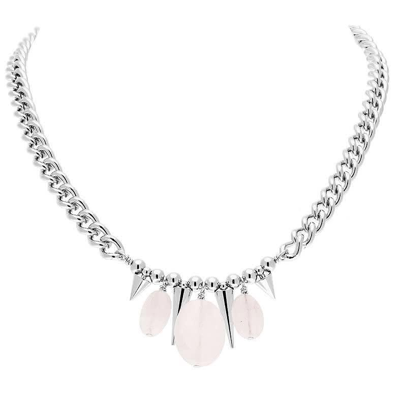 Collier chaîne pics et pierres (quartz rose)