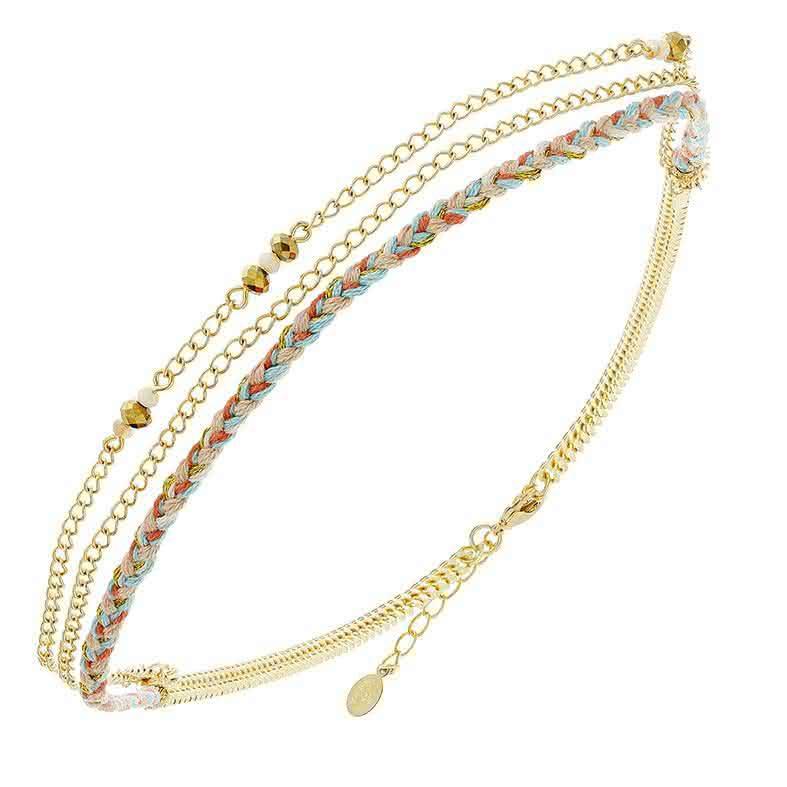 Headband 3 rangs tresse et perle