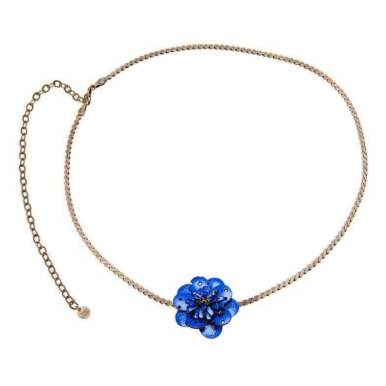 Bandeau Cheveux Vintage Fleuris (Bleu)