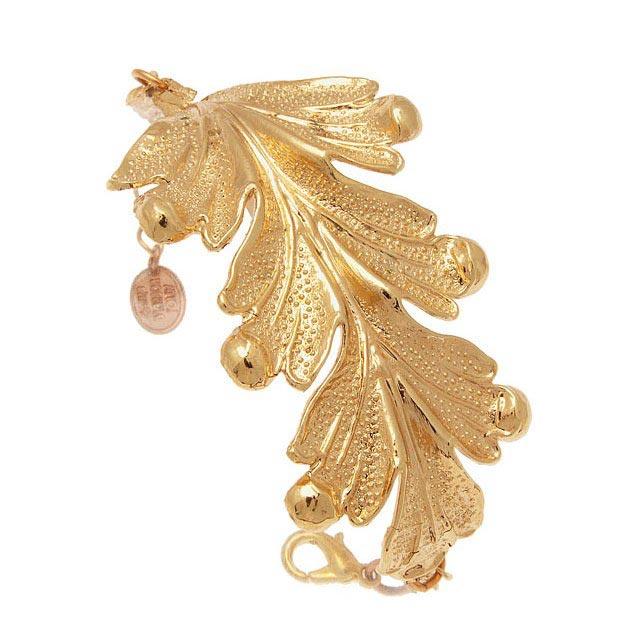 bracelet-manchette-doré-feuille
