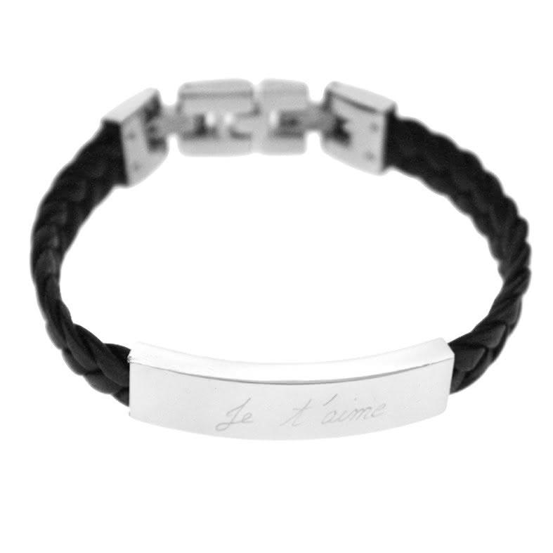 Bracelet cuir tressé et plaque (homme)