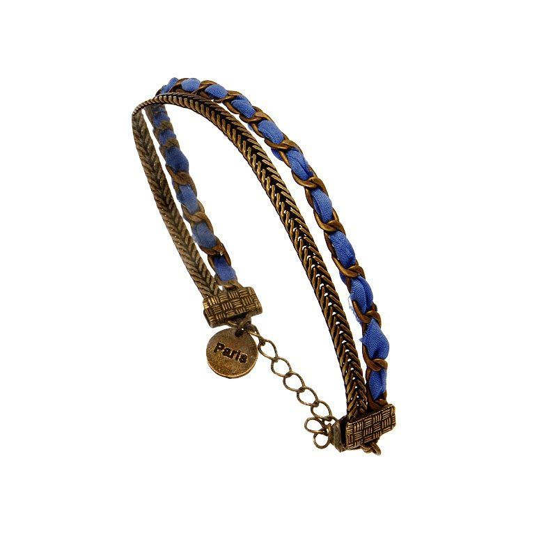 bracelet tressé bleu Aurelie Joliff