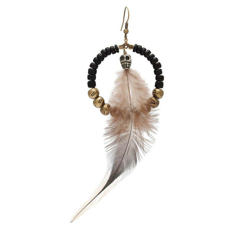 boucles creoles tribales plume