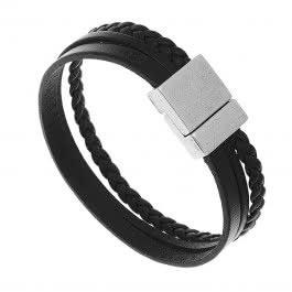 Bracelet Anthracite cuir pour homme (noir)
