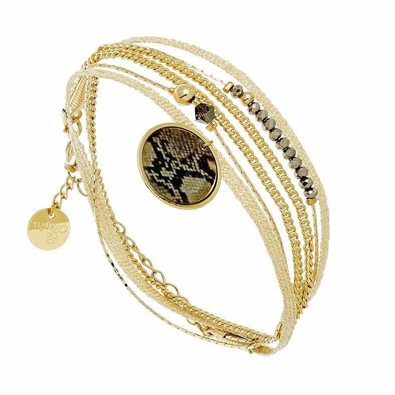 Bracelet multirangs python (doré et gris clair)