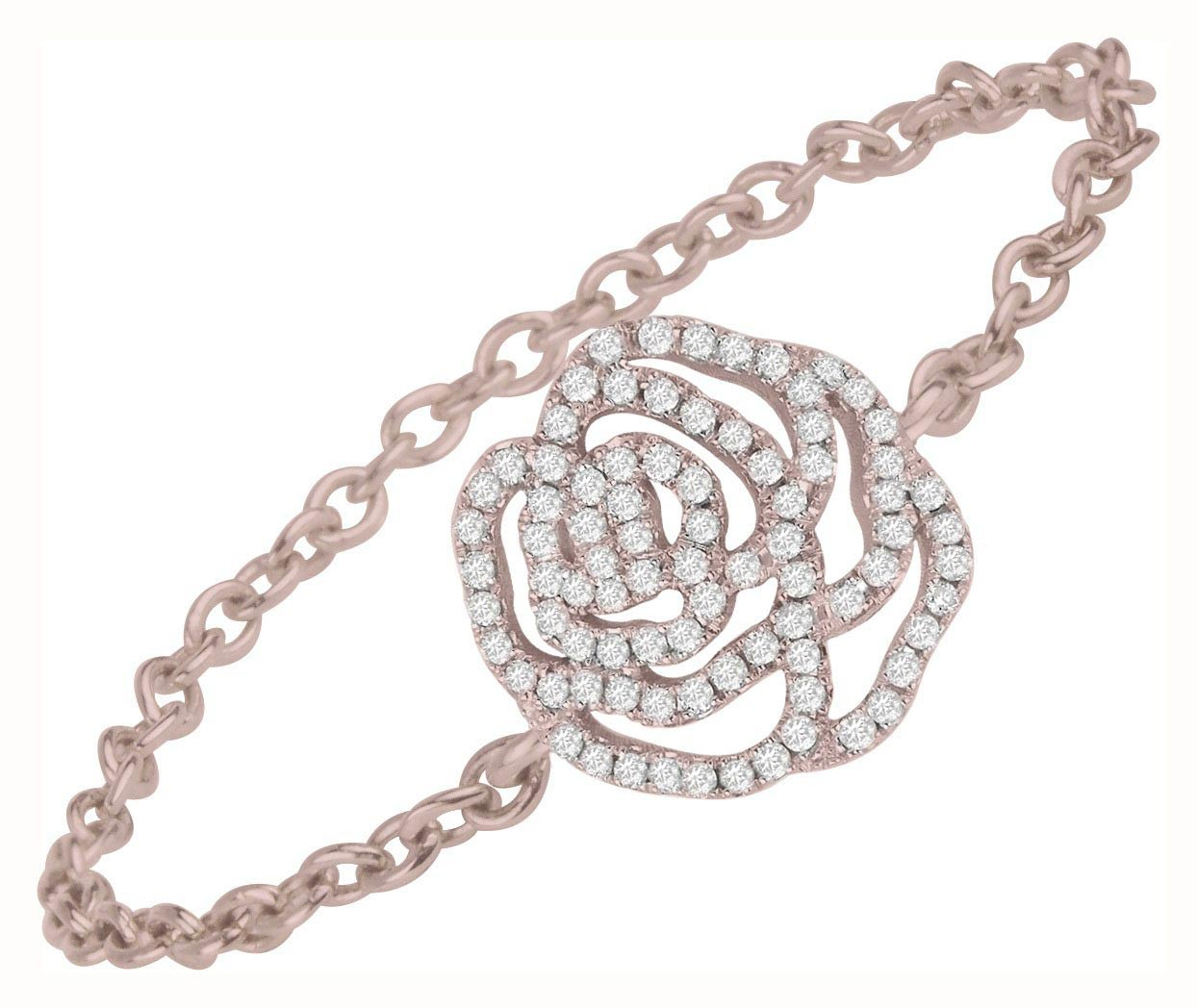bague forme de rose sertie de diamant